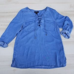 {L} Style & Co Demin Chambray Tunic Top